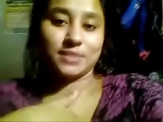 Desi bengali college girl dirty talk and self made boobs expose for lover