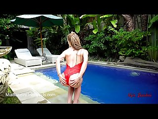 Fit teen passionate fucked and facialized near the outdoor pool mia bandini