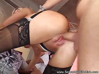 Blonde milf housewife tries swinging