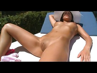 Masturbation young lady in a hat