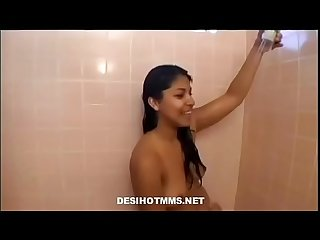 Cute brunette girl get fucked in bathroom