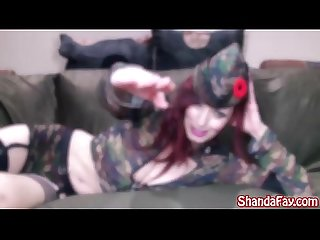 Shanda fay gives a salute to the soldiers with a pussy pounding