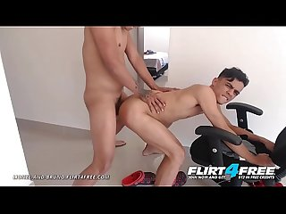 Lionel and Bruno - Flirt4Free - Colombian Twink Lovers Love Kissing and Rough Bareback Sex