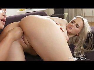 MOM Tight young blonde girl in panties has pussy opened by hot Asian MILF
