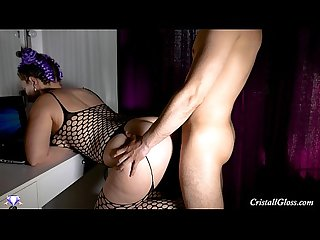 Fucked big ass and cum on booty cristall gloss