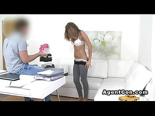 Slim euro blonde bangs fake agent on casting couch