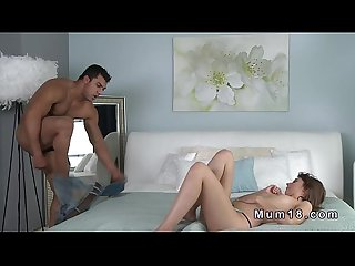 Tanned dude fucks pale milf and cums on her