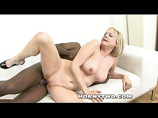 Super sexy blonde milf bitch sucks black cock for getting cowboy ride in pussy