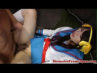 Asian shemale assfucked in schoolgirl outfit