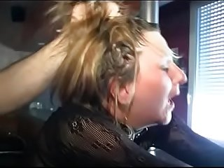 French woman gets handcuffed comma spanked hard comma gets hard bdsm comma whipped comma tied up by