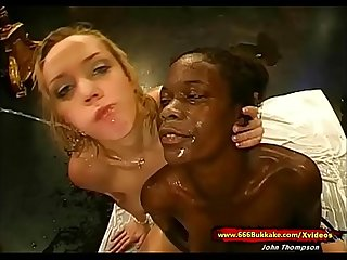 Slut Petra and her Ebony friend in Cum and Piss Gangbang - 666Bukkake