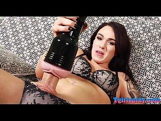 Skinny brunette shemale Aspen masturbates her hard cock