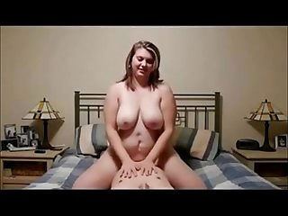 Chubby amateur babe riding his cock