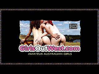 Girls Out West - Amateur lesbian girlfriends make out