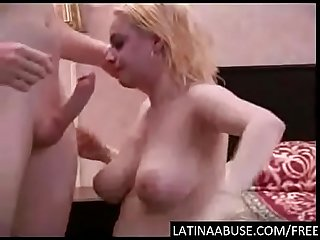 Throat roughed hard by two dicks
