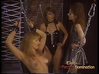 Seductive blonde rookie gets whipped by two horny latex-clad babes