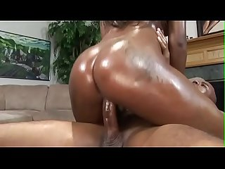 Cum inside the black oiled pussy