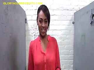 Black girl fun at gloryhole