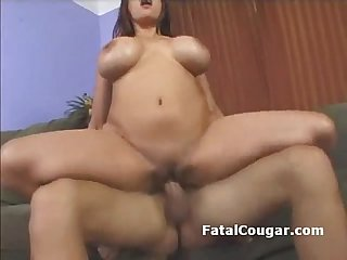 Huge titted older woman rides guys dick and gives him head