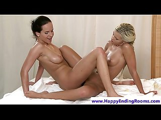 Hot lesbo masseuse finger pleasuring