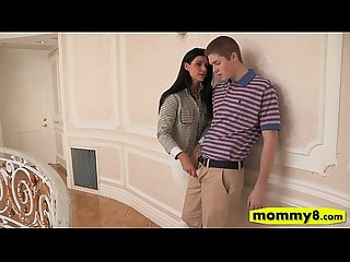 Fierce stepmom and cute teen threesome in the bedroom