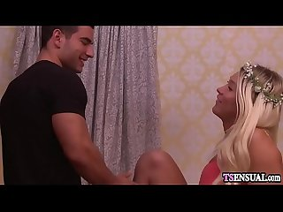 Blonde shemale anal fucked by her boyfriends hard cock