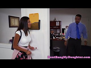 Finelooking teen pussydrilled on office desk