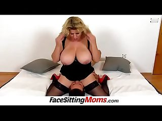 Busty MILF Silvy Vee spreads stockings legs for pussy licking