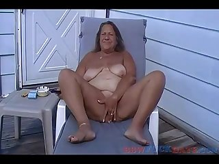 Tan BBW Granny Masturbate Outside