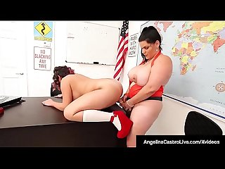 Phat Students Angelina Castro & Gia Love StrapOn Fuck!