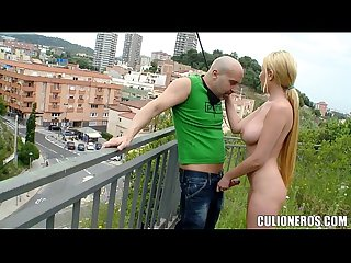 Blonde with great tits sucks cock outside