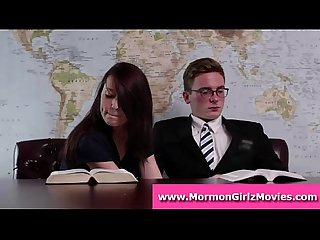 Mormon amateur babe gives boyfriend a handjob in public