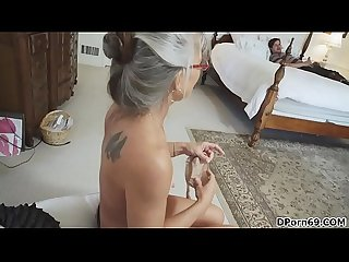 Stepmom caught son jerking with her body