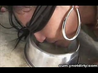 Tranny gangbanged drinking cum like doggy