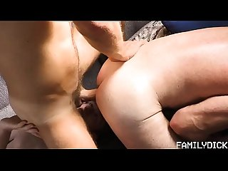 Daddy and young boy in threesome orgy