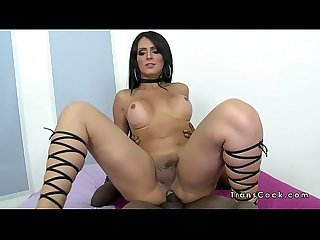 Tranny gets big black cock in her ass