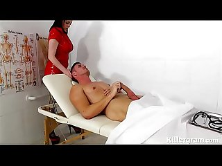 Sexy big boobs latex nurse fucks patients big hard cock