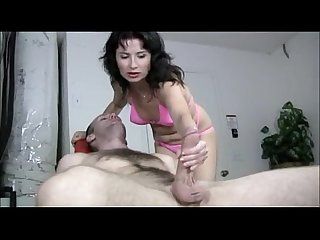 Naughty milf gives a handjob massage