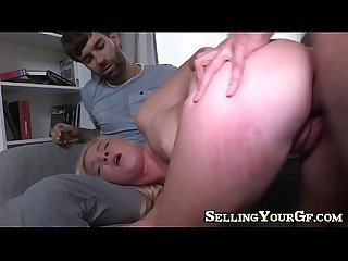 Blonde fucks to pay The bills