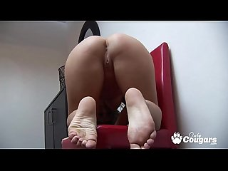 Sexy milf in nylon stockings opens her pussy wide and masturbates