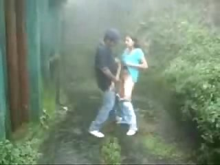 Teen couple having fun outdoor