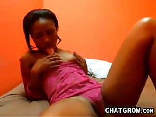 Ebony Girl In A Pink Thong Being A Tease
