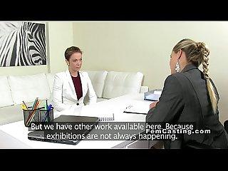 Amateur babe fingering female agent casting euro