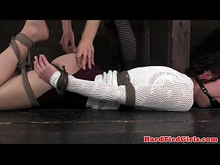 Ball gagged lezdom sub hogtied by domina
