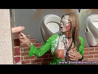 Gloryhole gives bukkake shower