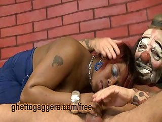 Black bbw precious deepthroats a clown