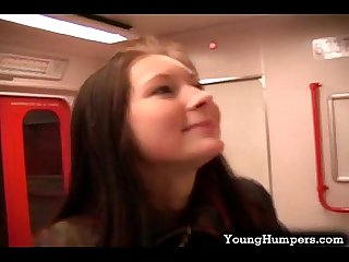 Wild teen chick sucks cock on the train