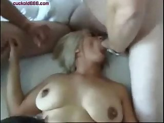 Three guys for good fuck with busty wife on cuckold666 com