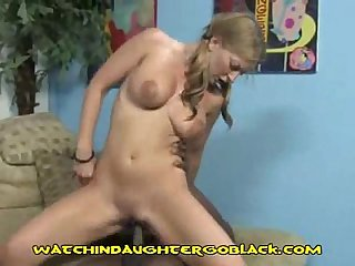 Blonde coed rides Black