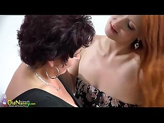 Oldnanny Mature kissing with redhead Teen in bed